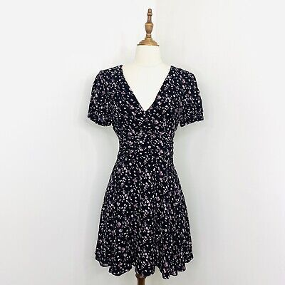 AU40 • Buy Forever New Womens Mini Dress Black Ditzy Floral Short Sleeve Size 8