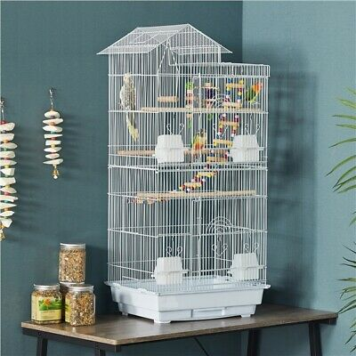 £41.99 • Buy 99cm Metal Bird Cage For Small Birds Parrot/Budgie/Canary Cage With Toys White