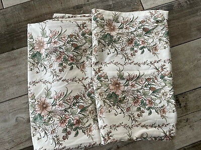 """£22.99 • Buy PAIR OF VINTAGE MONTGOMERY CHATEAU FLORAL HANDMADE SHABBY CHIC CURTAINS 76x55"""""""