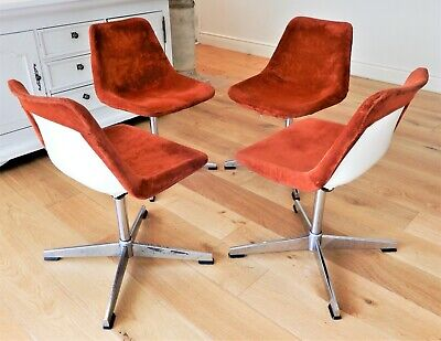 AU450 • Buy 4 X Genuine Robin Day 1970's Mid-century Retro Swivel Arm Chairs By HILLE