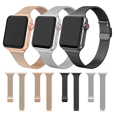$ CDN9.19 • Buy For Apple Watch Series 6 5 4 3 2 1 SE Slim Milanese Band Stainless Steel Strap