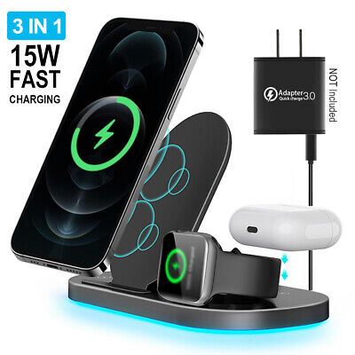 AU71.24 • Buy 3 In 1 Wireless Charging Station Docking For IWatch Air Pods IPhone 12 11 Pro XR