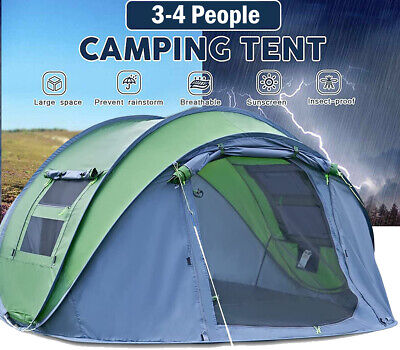 £79.99 • Buy 4 Person Man Family Tent 3 Seconds Instant Pop Up Tent Breathable Camping Hiking