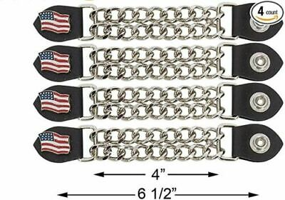 $22.99 • Buy 4 American Flag Double Chain Motorcycle Biker Military Vest Extenders Usa