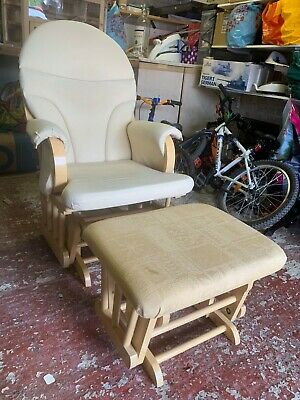 £35 • Buy Nursery Glider/Rocking Chair And Footstool, Beech Wood With Cream Cushions
