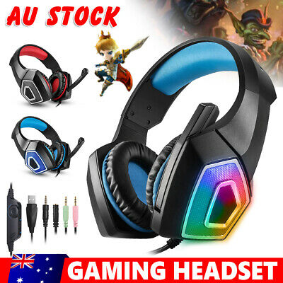 AU14.95 • Buy Gaming Headset Stereo 3.5mm With MIC LED Headphones For PC Laptop PS4 Xbox One