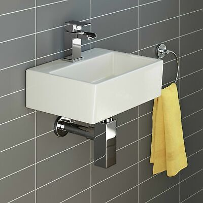 £34.99 • Buy Basin Sink Square Wall Hung Small Ceramic Cloakroom Compact Bathroom 330mmx290mm