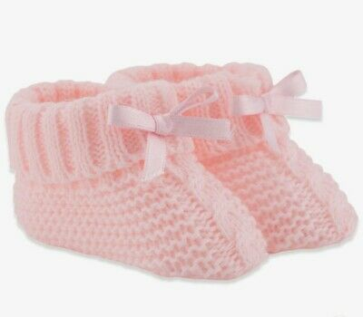 £3.50 • Buy Baby Girls Knitted Pink Booties Newborn 0-3 Months