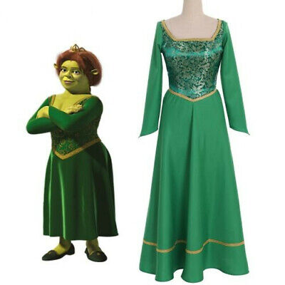 £31.97 • Buy Shrek Cosplay Outfit Princess Fiona Dress Green Costume Printing Suit