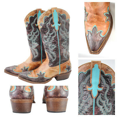 $66.99 • Buy Macie Bean Women's Cowgirl Boots Embroidered Brown Turquoise Pointed M8027 Sz 6