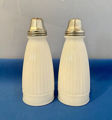 $10 • Buy  Vintage White Milk Glass Ribbed Salt And Pepper Shakers 5 1/2  ...retro Mcm