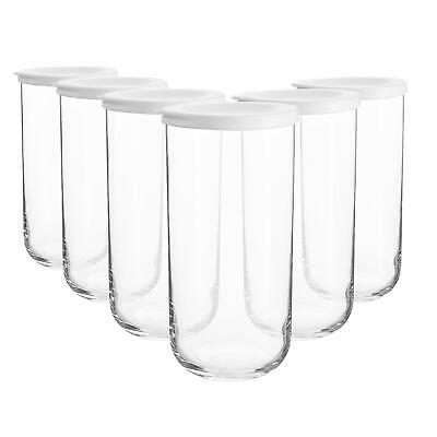 £16.99 • Buy 6x Duo Glass Storage Jars Stackable Container Silicone Lid 1.4 Litre White
