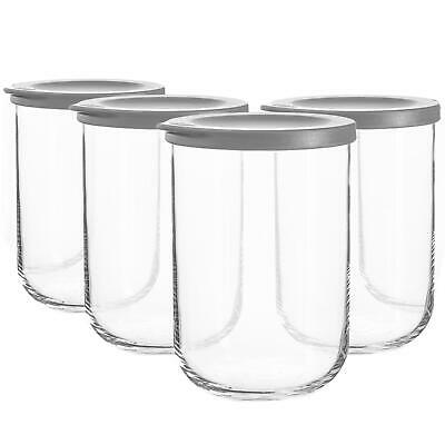 £11.99 • Buy 4x Duo Glass Storage Jars Stackable Kitchen Container Silicone Lid 1 Litre Grey