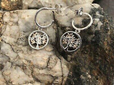 £99 • Buy Official Welsh Clogau Silver & Rose Gold Tree Of Life Drop Earrings £30 OFF!