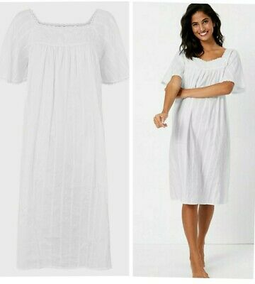 £12.95 • Buy Womens Nightdress Nightie Ladies Cotton White Embroidered Cool Ex M&S Size 6-26