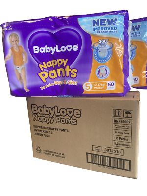 AU61 • Buy Baby Love Size 5 Walker 12-17kg Disposable Nappy 100 Pants In 2 Bags Of 50 Extra