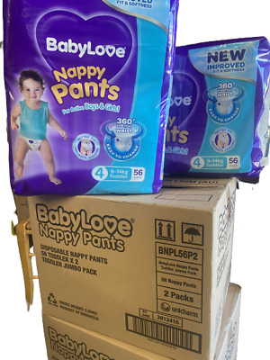 AU61 • Buy Baby Love Size 4 Toddler 9-17kg Disposable Nappy 112 Pants In 2 Bags Of 56 Large