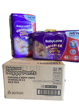 AU45 • Buy Baby Love Size 3 Wriggler 7-11kg Nappy 76 Pants In 2 Bags Of 38