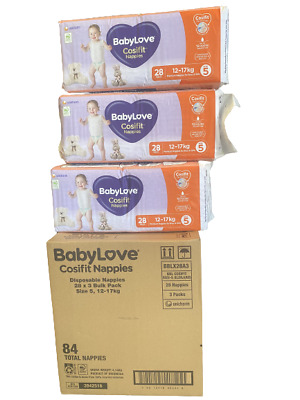 AU60 • Buy Baby Love Cosifit Size 5 Walker XL 12-17kg 84 Nappies In 3 Bags Of 28