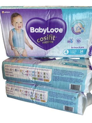 AU60 • Buy Baby Love Cosifit Size 4 Toddler Large 9-14kg 102 Nappies In 3 Bags Of 34