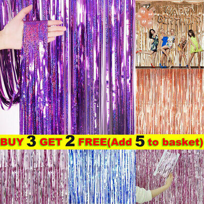 £2.59 • Buy Foil Curtains Metal Fringe Shimmer Birthday Wedding Party Background Wall Decor