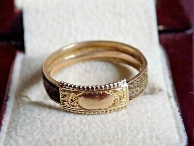 £100 • Buy Antique 9ct Gold Mourning Ring. Real Hair. Circa 1900s. SIZE N-O 1.9 GRAMS