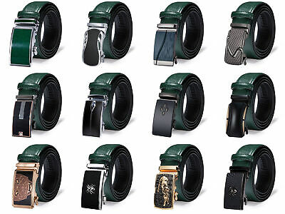 $20.99 • Buy Genuine Leather Mens Green Belts Automatic Ratchet Buckles Waist Straps Fashion