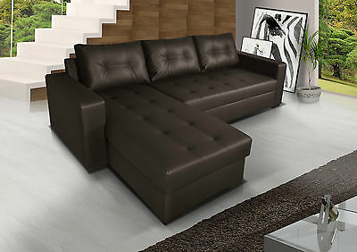 £599 • Buy BRAND NEW Corner Sofa Bed With Storage, Brown Faux Leather. UNIVERSAL CORNER