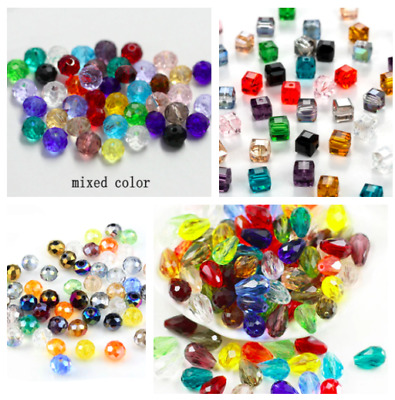 £2.99 • Buy Faceted Czech Crystal Glass Beads Round Tear Drop Square Mixed Colour Jewellery