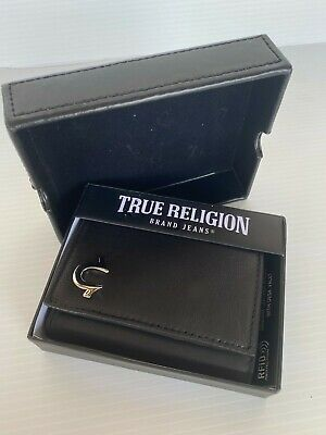 $29.99 • Buy True Religion NWT Sway Trifold Black Genuine Leather Wallet With Case TR201014