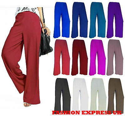 £7.49 • Buy Womens Palazzo Trousers Plus Size Plain Ladies Baggy Wide Leg Flared Pants 8-26