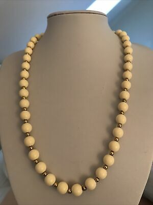 £11.99 • Buy Vintage TRIFARI Signed Cream Gold Beaded Necklace