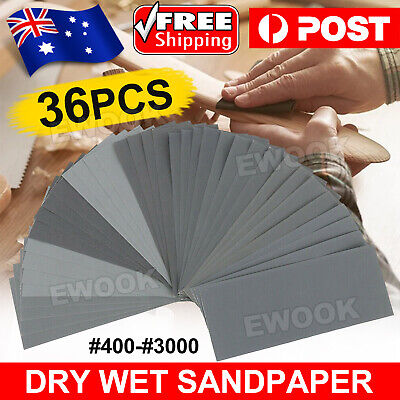 AU8.95 • Buy 36PCS Sandpaper Mixed Wet And Dry Waterproof 400-3000 Grit Sheets Assorted Wood