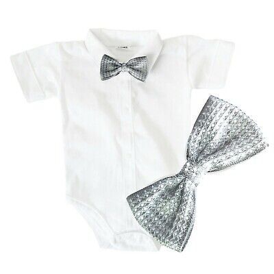 £8.99 • Buy Baby Boys Bodysuit Shirt SILVER BOW Outfit Special Occasion Christening Wedding