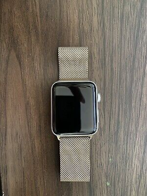 AU379.47 • Buy Apple Watch Series 3 42mm Watch With Gold Milanese Loop Band