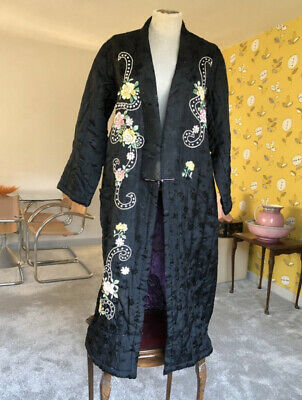 £129.83 • Buy Antique Silk Coat 1920s Embroidered Long Evening Quilted Black Opera Theatre
