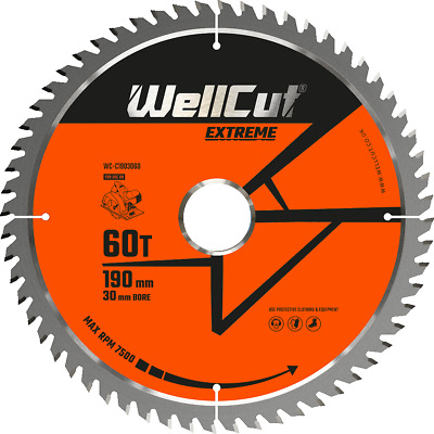 £9.99 • Buy Circular Saw Blade 190mm X 60T X 30mm Bore Suitable For HS7100, DWE576,GKS190