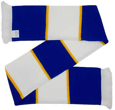 £7.99 • Buy Chelsea Supporters Royal Blue And White Bar Scarf With Gold Stripes - Made In UK