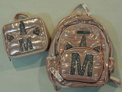 AU67.80 • Buy Justice Quilted Shimmer Unicorn School Backpack Lunchbox Set Initial Letter M