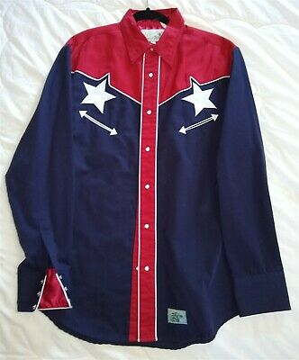 $39.99 • Buy CRANIUM'S Roper Western Embroidered Shirt LONE STAR Blue W/red Large EUC