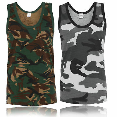 £6.59 • Buy Mens Sleeveless Muscle Vest Top Jungle Camo Camouflage Green Grey Brown S - 4xl