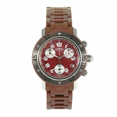 £800 • Buy Hermes Clipper Diver CL2.318 Steel & Rubber Watch Red 33mm Case With 17cm Strap