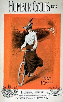 £3.99 • Buy Vintage Humber Cycles Bicycle Cycling Travel Advertisement Poster Art Print A4