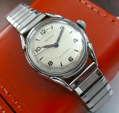 $95 • Buy Vintage Benrus Stainless Steel Military Style Watch Speidel Stretch Band 1256