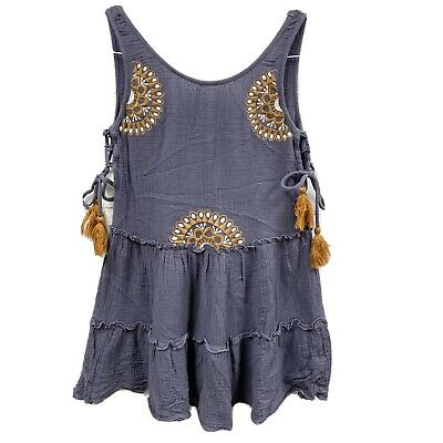 $ CDN24.89 • Buy Anthropologie THML Tank Top Extra Small Navy Lace Up Embroidered Blouse