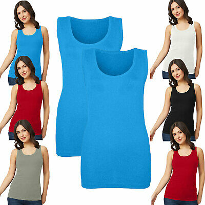 £7.99 • Buy Pack Of 1 & 2 Women's Fitted Ribbed Vest Tops Ladies 14-28 UK Sizes In 4 Colours