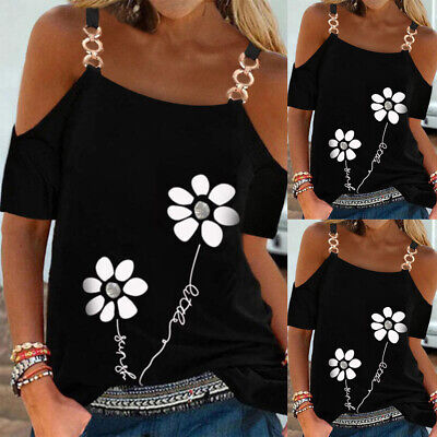 £11.19 • Buy Womens Floral Cold Shoulder T-shirt Top Ladies Casual Loose Chain Blouse Tee