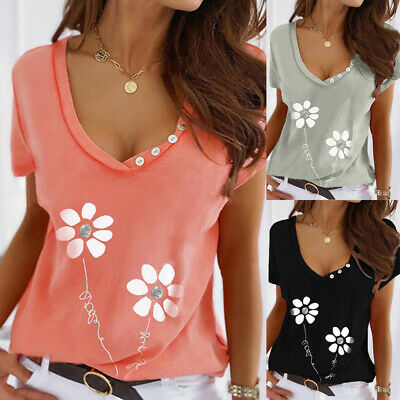 £8.83 • Buy Womens V-neck Flower Print Casual Tops Ladies Short Sleeve Blouse Loose T-shirt