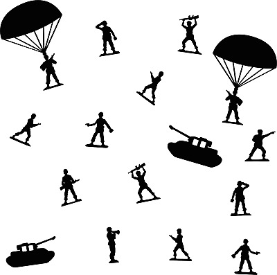 $19.99 • Buy Vinyl Art Military Army Soldiers Paratroopers Scouts Tank Design Home Wall Decal