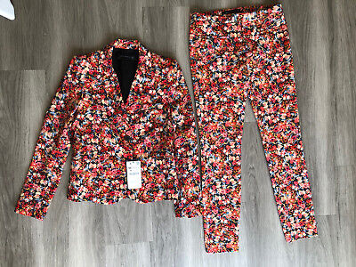 £50 • Buy New Zara Coord Orange Flowered Print Jacket XS & Trousers Size S Suit